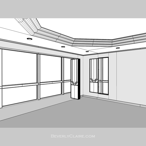Wireframe view of the room. The hexagonal step ceiling's side is parallel to the window wall.