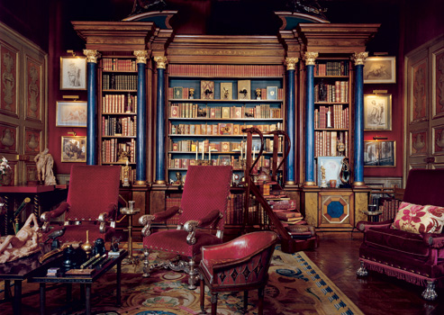 European Inspiration: Library for Baron Alexis de Rede in the Hotel Lambert in Paris. Decoration by Georges Geffroy. Published in Architectural Digest January 2000.