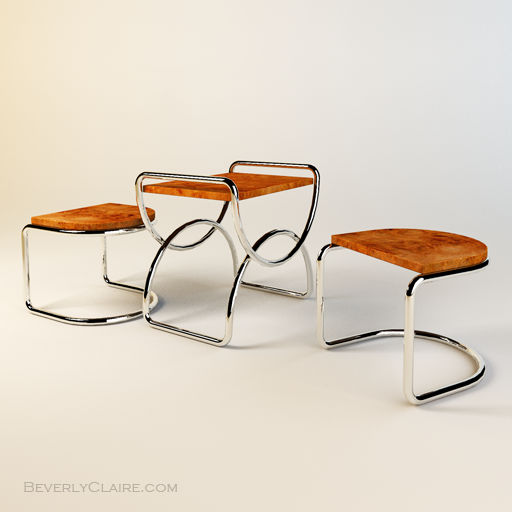 My model of a pair of Art Deco stools and small table.