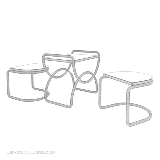 Wireframe view of our stool and table set