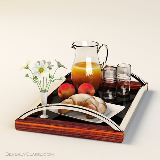 Art Deco tray made of rosewood and chrome, with a black lacquered base. Breakfast set is from designconnected.com. Flower is a sample model from Shade.