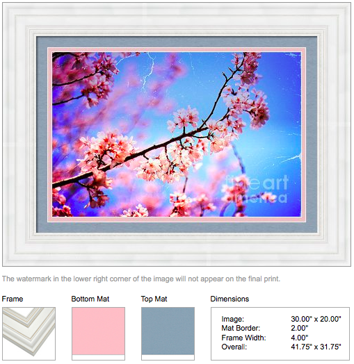 Vintage Soft Pink Cherry Blossoms and Blue Sky by Beverly Claire Designs
