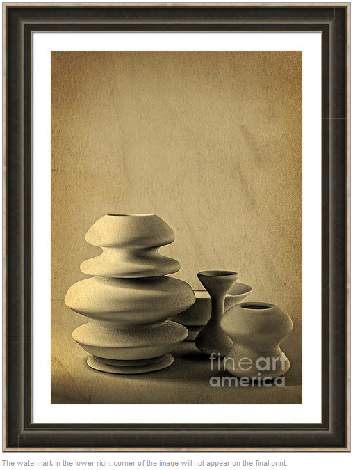 "Ceramic Pottery Still Life III - ""Charcoal Sketch"" by Beverly Claire Designs"