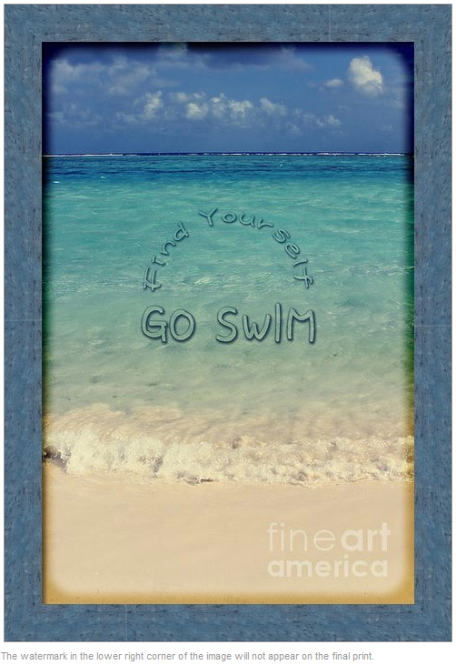 Find Yourself Go Swim Motivational Quote Tropical Beach by Beverly Claire Designs