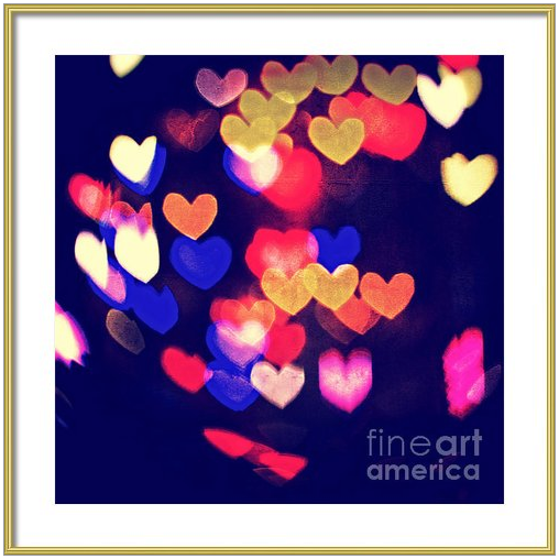 Messy and Colorful Bokeh Hearts with Vintage Feel by Beverly Claire Designs
