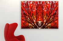 Stylized Maple Tree with Vivid Autumn Leaves