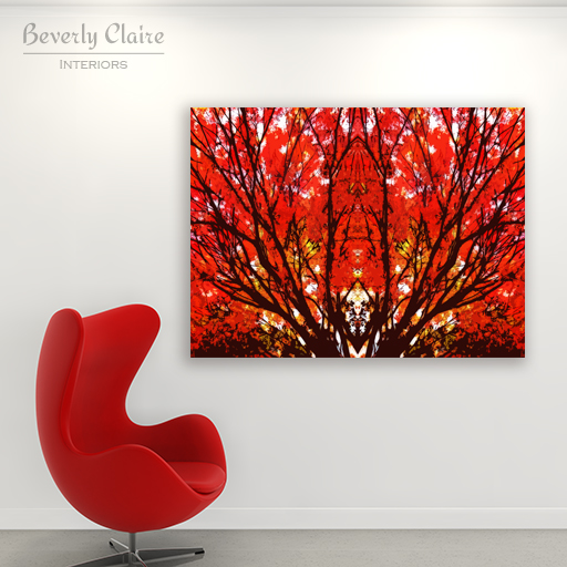 Stylized Maple Tree with Vivid Autumn Leaves by Beverly Claire Kaiya