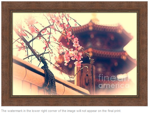 Lovely Pagoda and Plum Blossoms with Bamboo Fence by Beverly Claire Designs