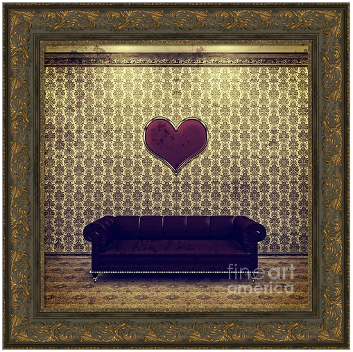 Red Heart and Purple Couch in a Gold Victorian Room
