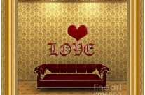 Love And Deep Red Sofa In A Gold Victorian Room