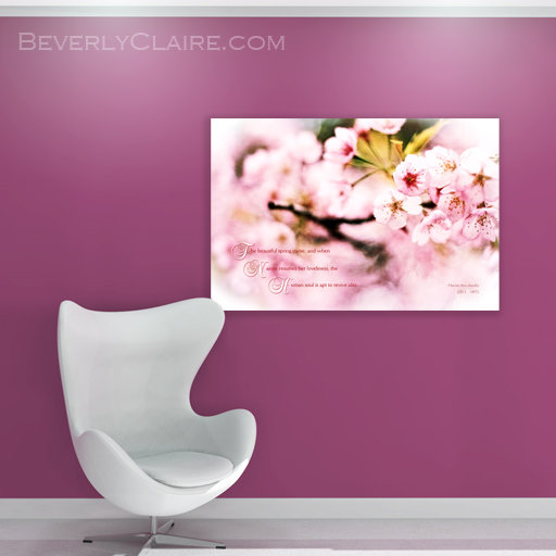 "Virtual room render of ""Beautiful Cherry Blossoms in Spring When Nature Resumes Her Loveliness"" by Beverly Claire Designs"