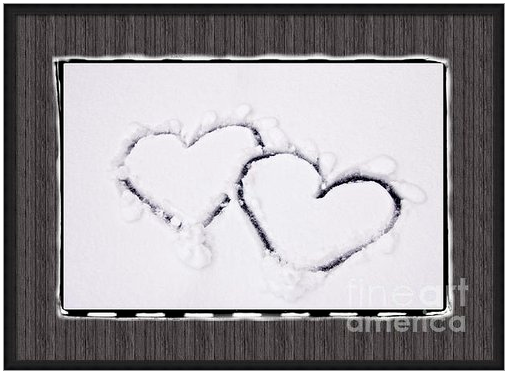 Hearts on Snow with Wood Panel Background by Beverly Claire Designs