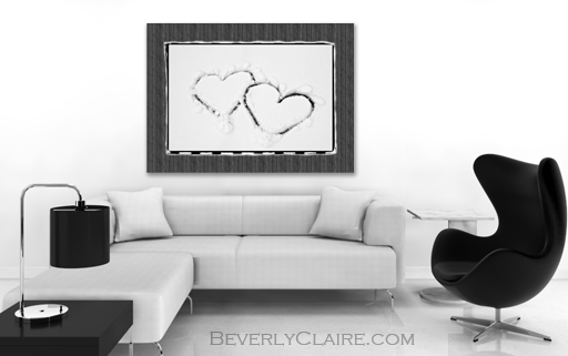 Hearts on Snow with Wood Panel Background Room Render by Beverly Claire Designs