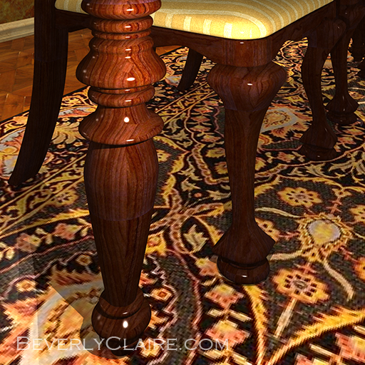 Close-up of the dining table.
