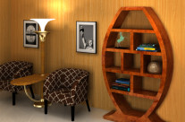 Art Deco Bookshelf with Uplighter