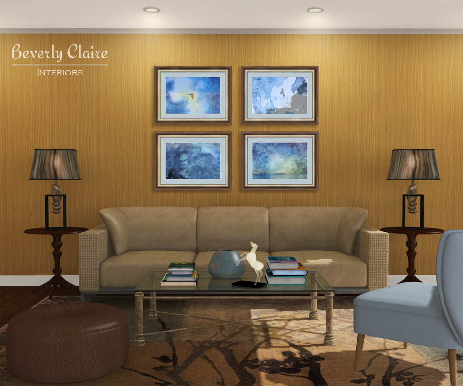 Blue brown nature themed living room beverly claire for Blue themed living room ideas