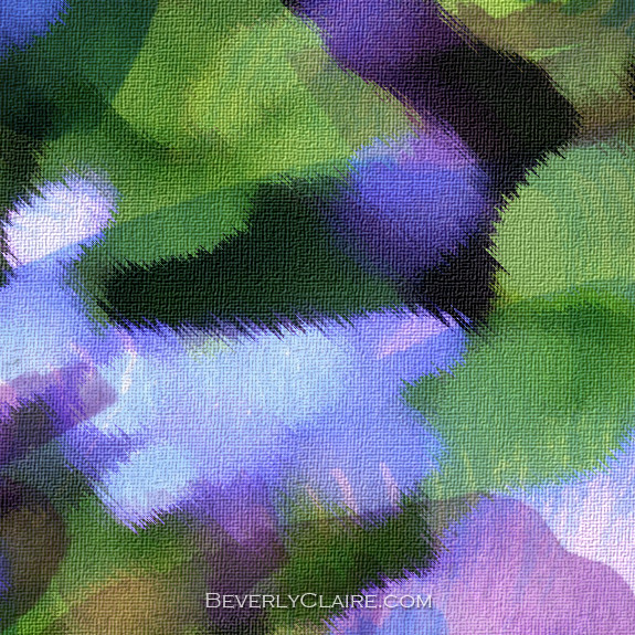 Detail of Ageratum or Bluemink with Watercolor Brushstrokes Over