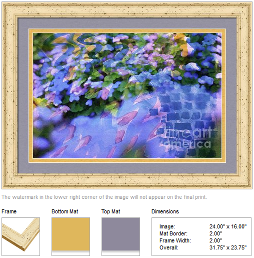 Ageratum or Bluemink with Watercolor Brushstrokes Overlay by Beverly Claire Kaiya