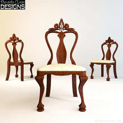A dining chair inspired by the Queen Anne style