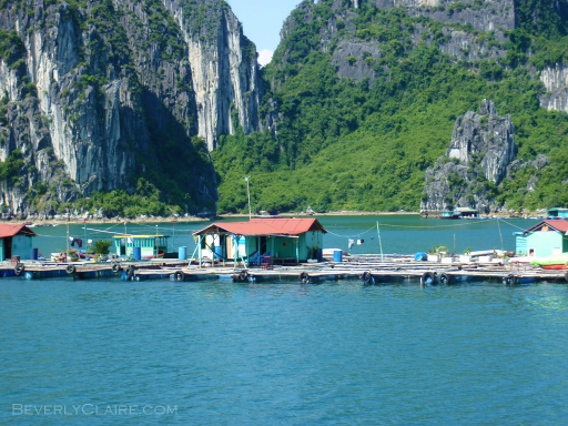 A floating village at Halong Bay