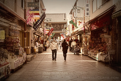 A couple walking toward the temple
