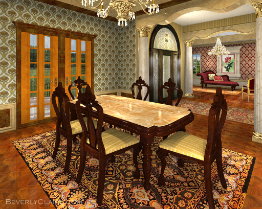 A view of the dining room.