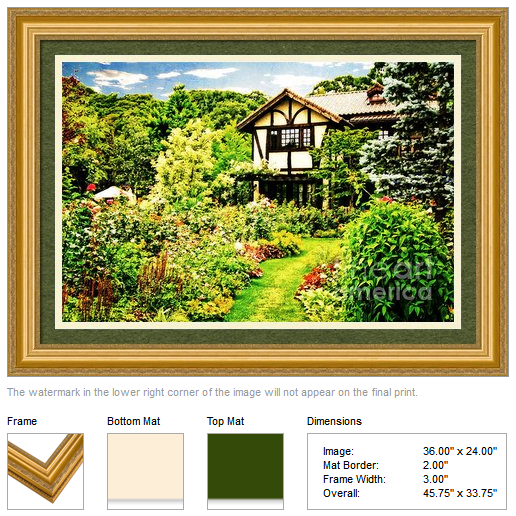 Framed print of an old house with a lovely English garden, by Beverly Claire Designs