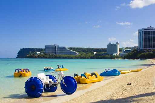 Floating devices on a beach at Tumon Bay in Guam
