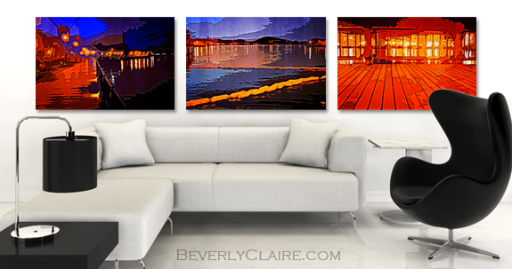 View of Yokosuka Bay from Verny Park at Night, trio of photo art in a virtual room by Beverly Claire Kaiya