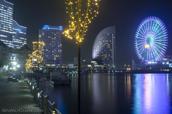 Ferris wheel with violet-ish lights