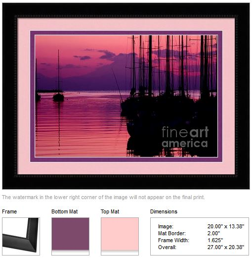 Sunset in Pink and Purple with Yachts at Bay by Beverly Claire Kaiya